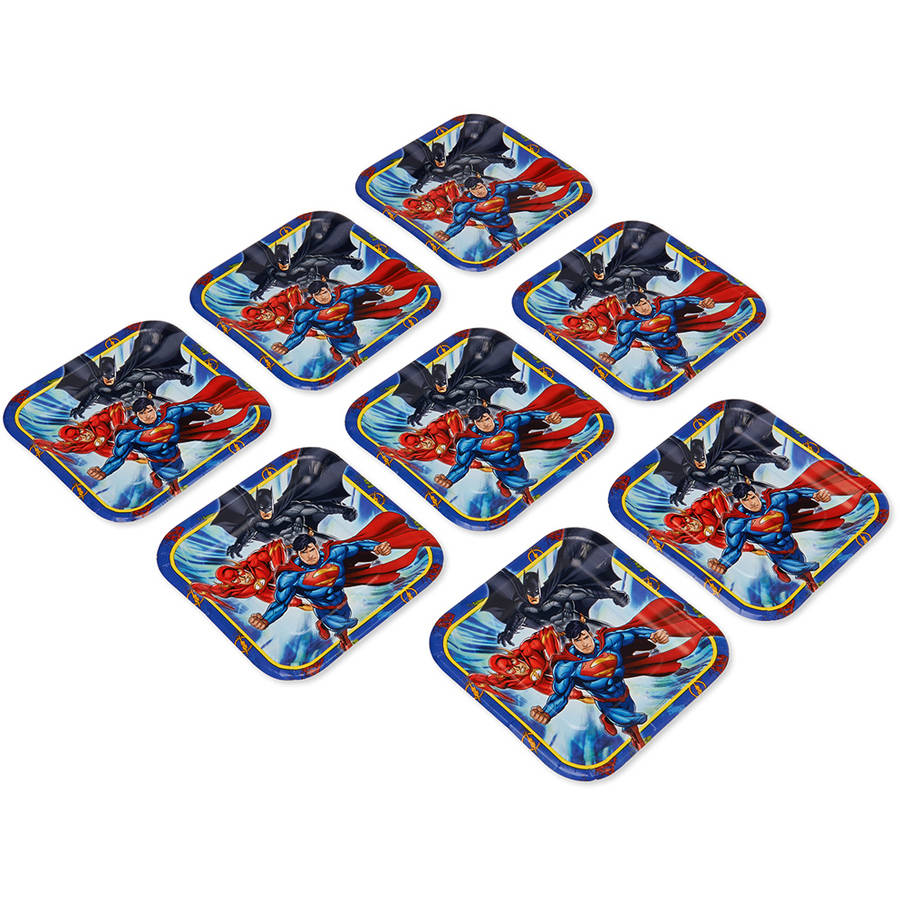 "Justice League 7"" Square Plate, 8 Count, Party Supplies"