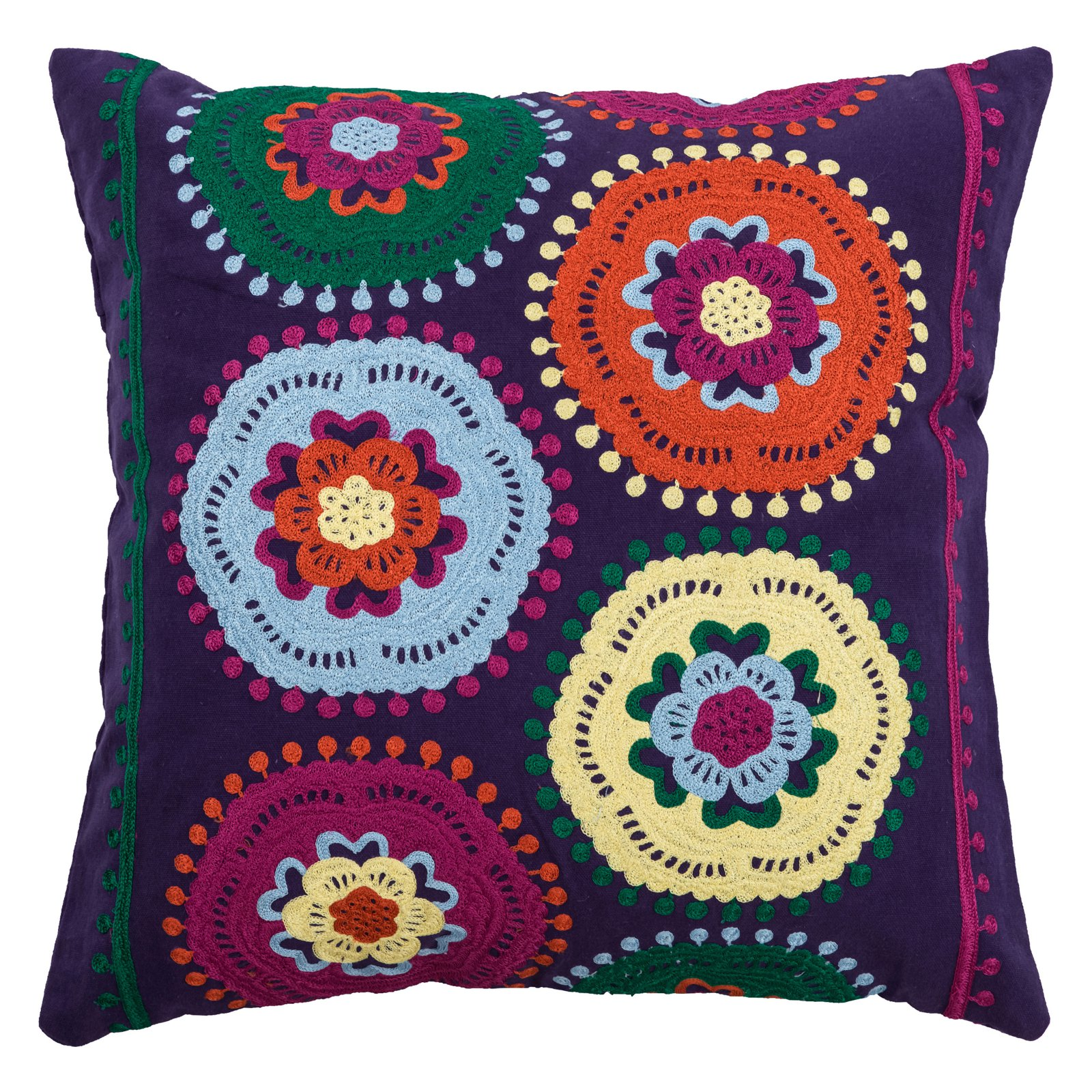 "Rizzy Home Decorative Poly Filled Throw Pillow Floral 18""X18"" Purple"