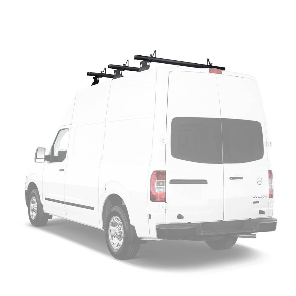 2013-On Van Roof Rack System w//Ladder Stopper White AA-Racks Model AX302-NV Compatible NV200 60 Aluminum 3 Bar