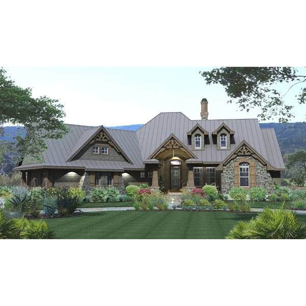 TheHouseDesigners-3057 Country Craftsman House Plan with Slab Foundation (5 Printed Sets)