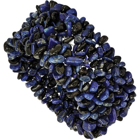 Lapis Lazuli and Black Tourmaline Wide Stretch Bracelet