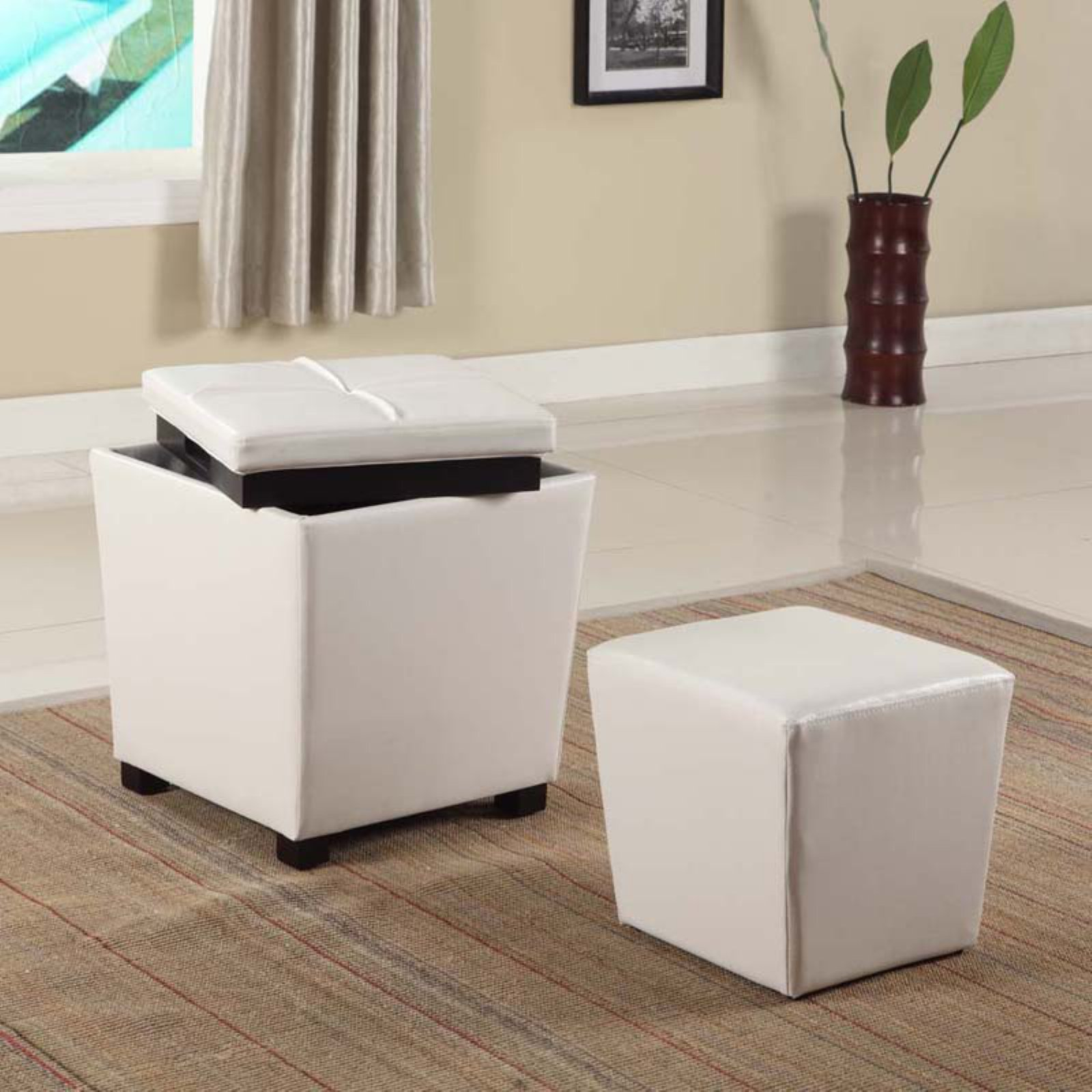 Roundhill 2-in-1 Storage Ottoman with Stool, Multiple Colors Available