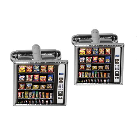 - Snacks Chips Candy Vending Machine Square Cufflinks