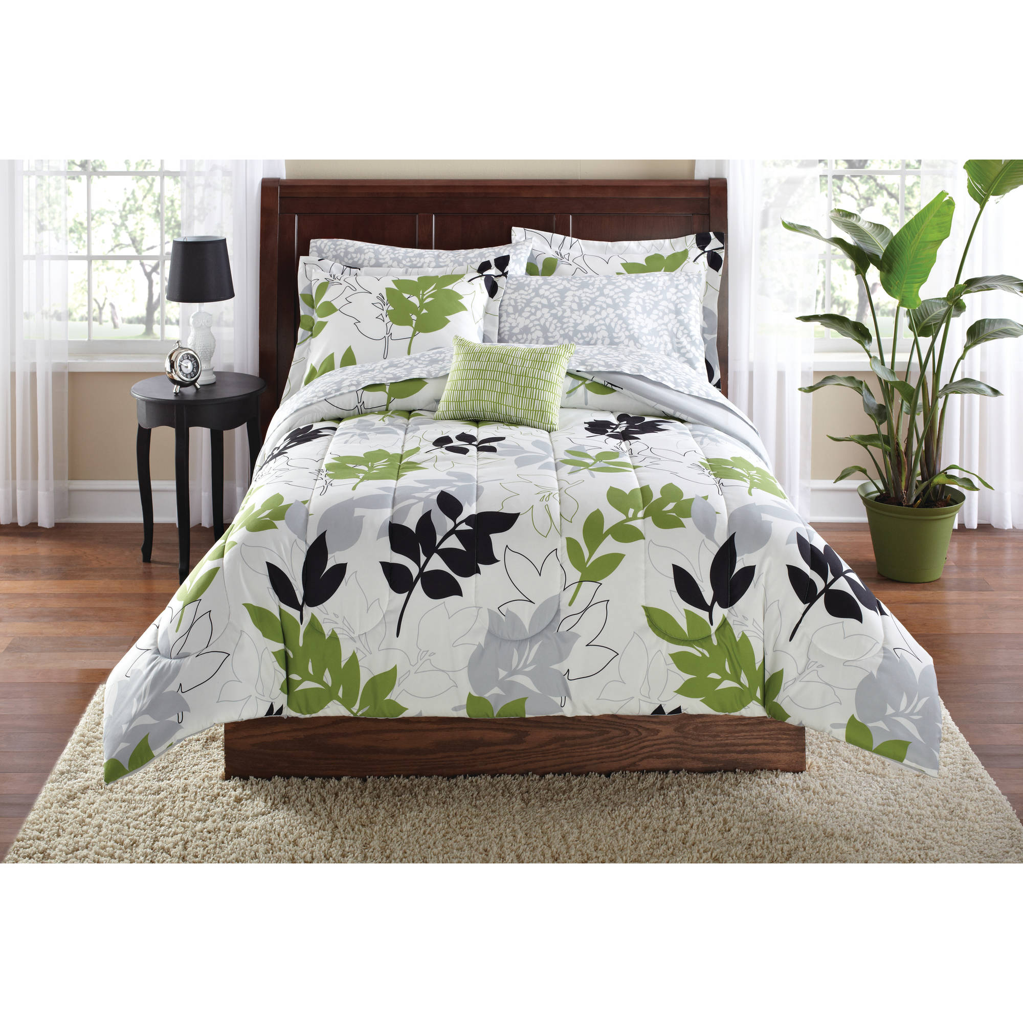 mainstays botanical leaf bed in a bag coordinated bedding set  - mainstays botanical leaf bed in a bag coordinated bedding set  walmartcom