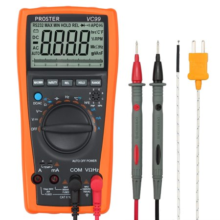 VC99+ 6999 Auto Range LCD Digital Multimeter AC DC OHM Voltmeter Ammeter Tester - image 5 of 7