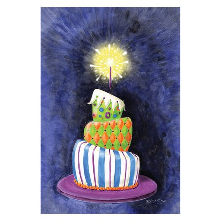 Toland Home Garden Sparkling Birthday Present Cake Flag