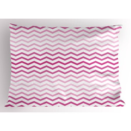 Light Pink Pillow Sham Chevron Zigzag Pattern With Twisted Parallel Lines In Vibrant Tones Graphic Decorative Standard King Size Printed Pillowcase