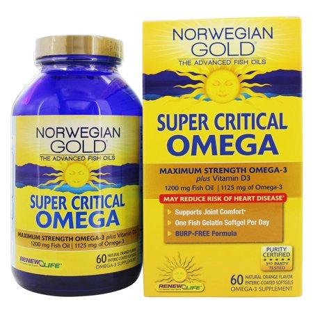 Renew Life   Norwegian Gold Ultimate Fish Oils Maximum Strength Omega 3 Super Critical Omega Natural Orange Flavor 1200 Mg    60 Fish Softgel S