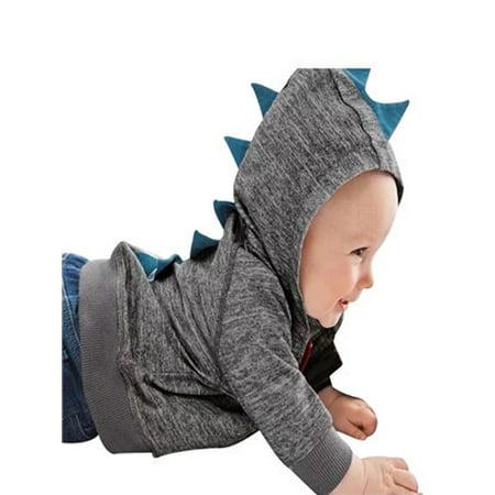 Toddler Zipper (Infant Toddler Baby Boy Girl Dinosaur Pattern Hooded Zipper Tops Clothes Coat)