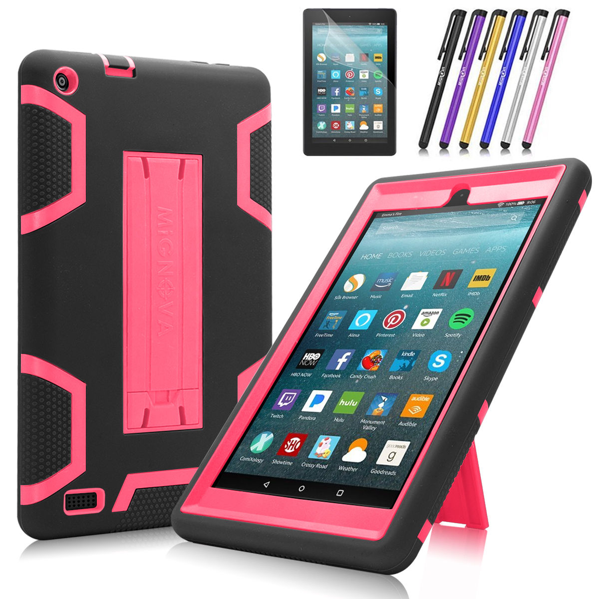 Fire 7 2017 Case, Mignova Heavy Duty Hybrid Protective Case Build In Kickstand For All-New Fire 7 Tablet (7th Generation 2017 Release) + Screen Protector Film and Stylus Pen (Black / Pink)