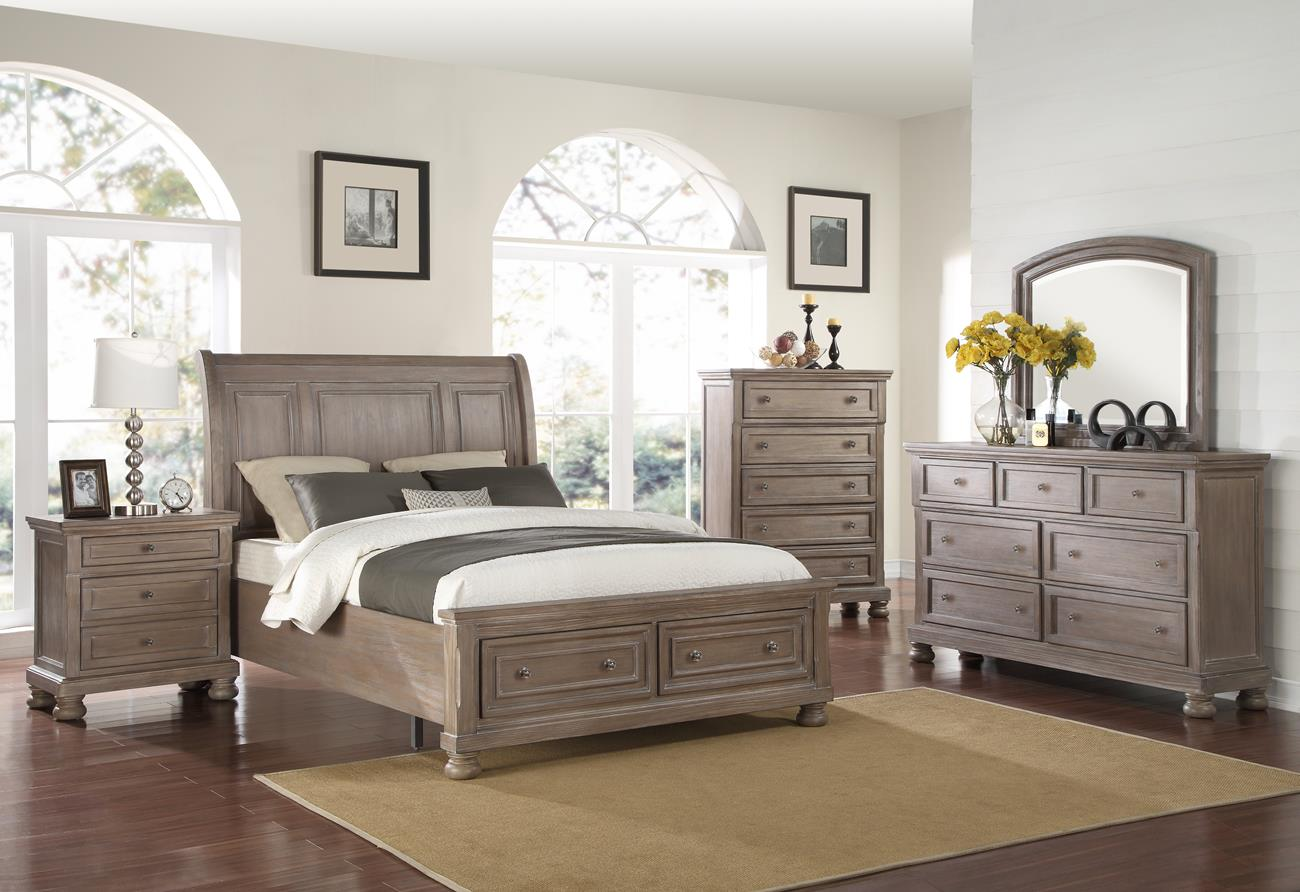 Alabaster 5 Piece Queen Storage Bedroom Set With Chest In Pewter Finish