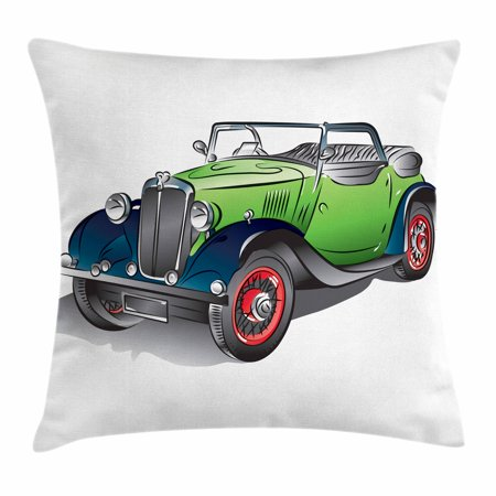 Cars Throw Pillow Cushion Cover, Hand Drawn Convertible Vintage Green Car with Colorful Rims Retro Vehicle Design Print, Decorative Square Accent Pillow Case, 18 X 18 Inches, Green Gray, by Ambesonne