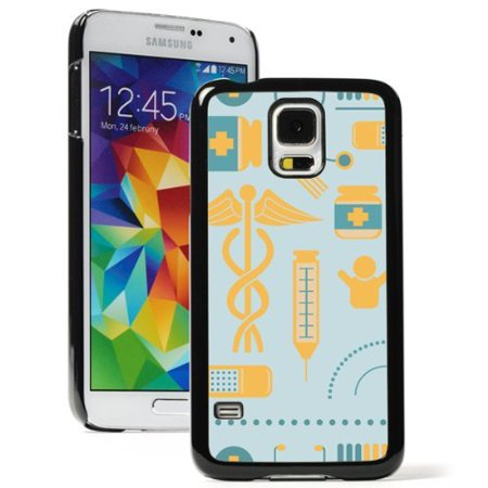 Samsung Galaxy  S5 Active  Hard Back Case Cover Medical Medicine Icons Background  Black