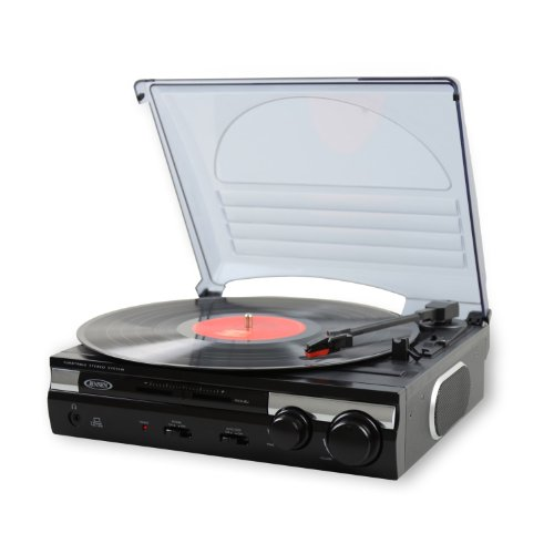 Jensen 3-Speed Stereo Turntable with Built-in Speakers and Speed Adjustment (jta-230)