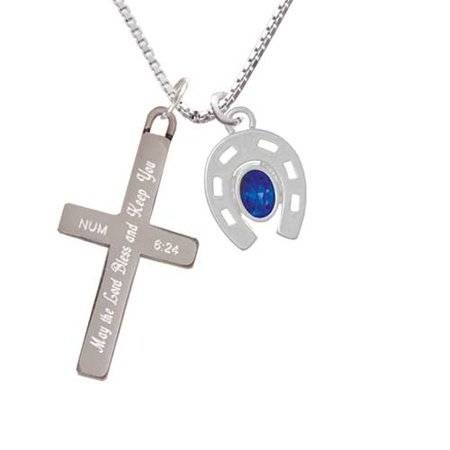 (Horseshoe with Oval Blue Crystal - Bless and Keep You - Cross Necklace)