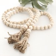 Wooden Bead Garland Farmhouse Rustic Country Tassle Prayer Beads Wall Hanging Decorations