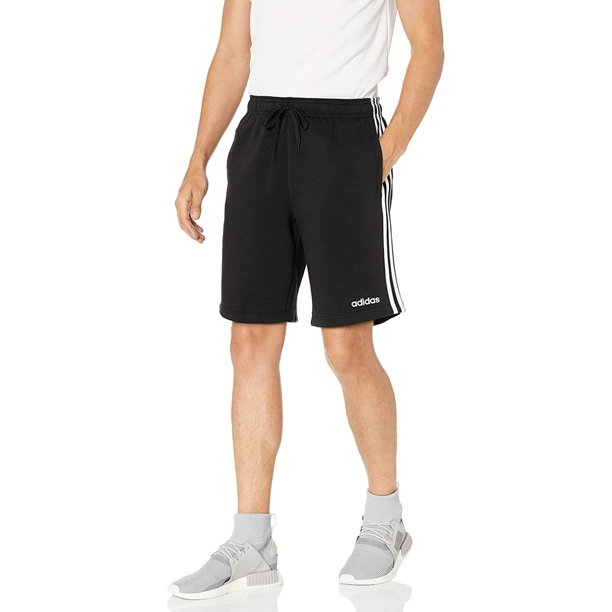 Adidas Essentials Men's 3-Stripes Jersey Shorts, Black/White/Black, X-Large