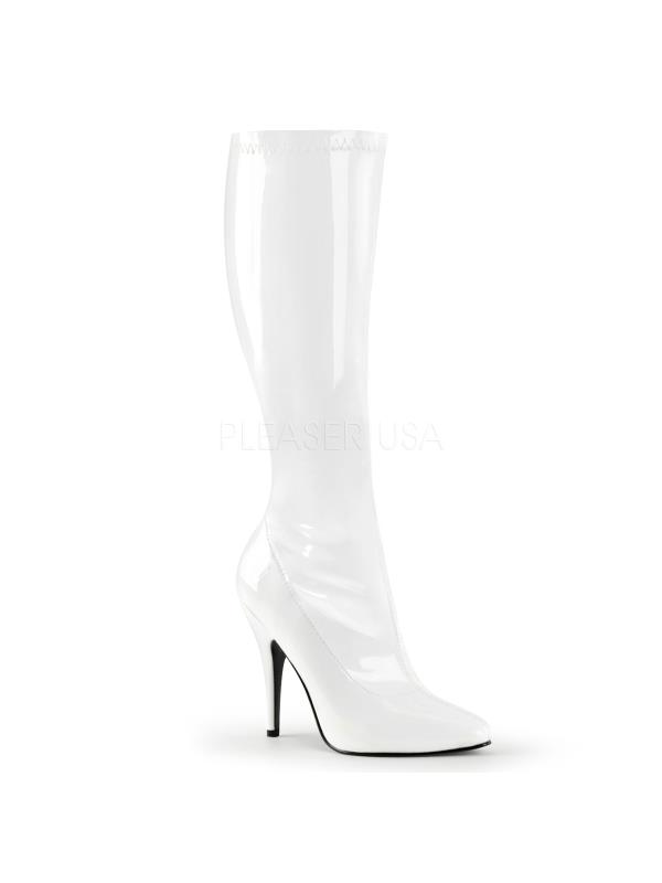 SED2000/W Pleaser Single Soles Knee High Boots WHITE Size: 16