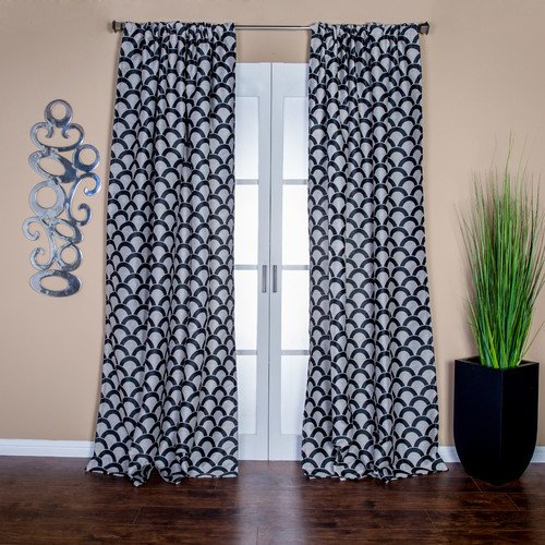 Lambrequin Sahar Geometric Semi Sheer Rod Pocket Single Curtain Panel Walmart Com Walmart Com