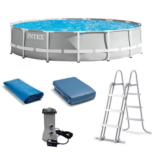 Intex 15 Foot X 42 Inch Prism Frame Above Ground Swimming Pool Set With Filter Walmart Com Walmart Com