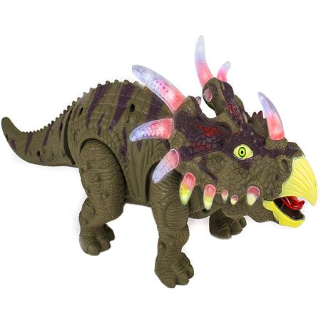 Toysery Walking Dinosaur Toy Triceratops With Amazing Roar Sounds  Dinosaur Noises Lights   Movement For Kids  Colors May Vary