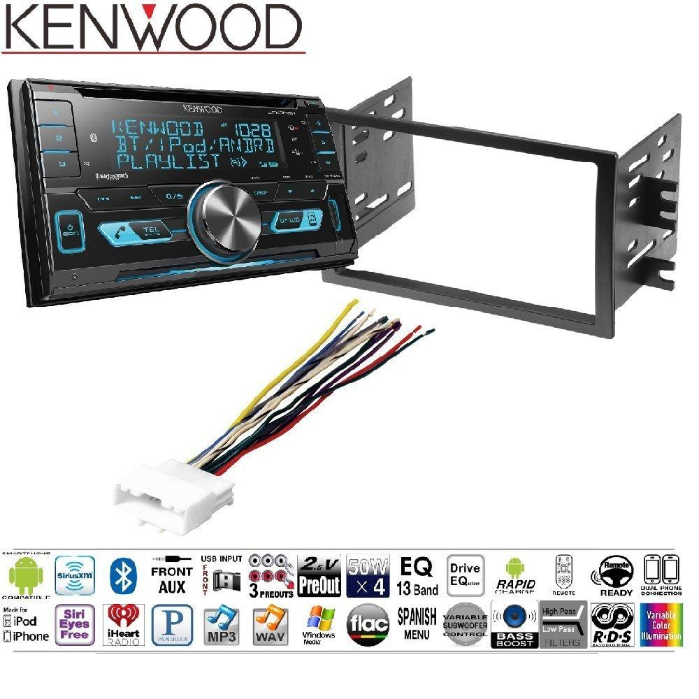 Kenwood DPX503BT Double DIN CD Bluetooth SiriusXM Car Stereo (Replaced DPX502BT) Dash Stereo Mounting Kit w/Harness & Antenna Install for Nissan Frontier