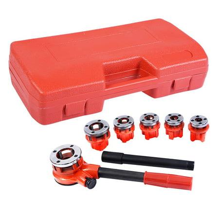 Ratchet Pipe Threader Set (Goplus Ratchet Pipe Threader Kit Ratcheting Pipe Threading Tool Set w/ 6 Dies and Storage)
