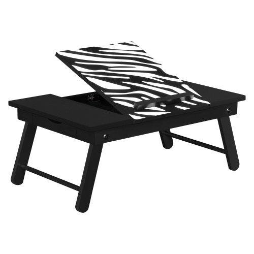 Altra Furniture Folding Laptop Tray Table in Black and Zebra Print
