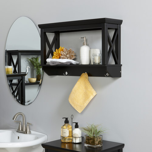 RiverRidge X-Frame Wall Shelf with Hooks, Espresso