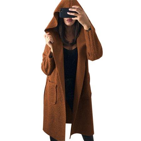 35bc8ea7e1 Sexy Dance - Winter Women Hoodie Sweater Cardigan Oversize Hooded Long  Woolen Coat Outwear Top Belt Overcoat Trench Jacket Wool Parka - Walmart.com