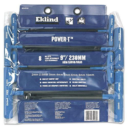 "8-Piece Power-T Ball-Hex Key Set, Pouch, 9"" Arm"