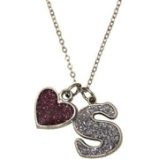 Glitter Initial S Necklace