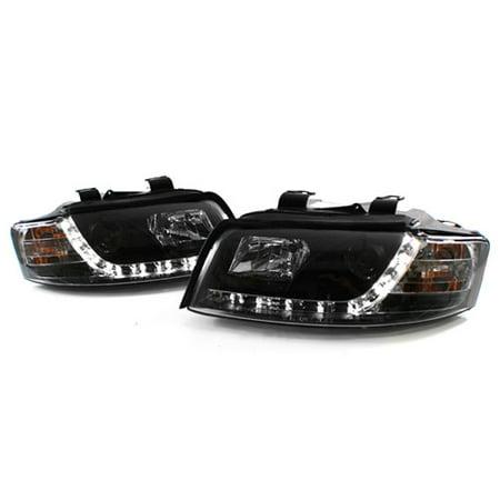 02-05 AUDI A4/S4 B6 E-CODE PROJECTOR HEADLIGHTS W/ S5 STYLE LED STRIP -  BLACK