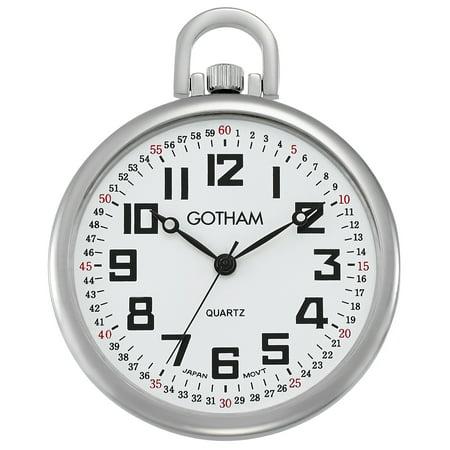 Hamilton White Pocket Watch (Men's Railroad Open Face Silver-Tone Analog Quartz Pocket Watch with Chain # GWC15022S)