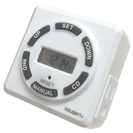 Instapark TUE-12 15 Amp Heavy-duty 7-Day On/Off Plug-in Digital Programmable Timer with 3-pin Grounded & Polarized Outlet