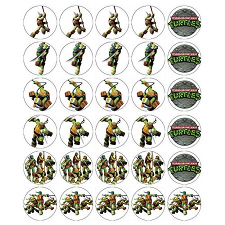 Ninja Turtle Cupcake Toppers (24 Teenage Ninja Turtle  Edible Cupcake)