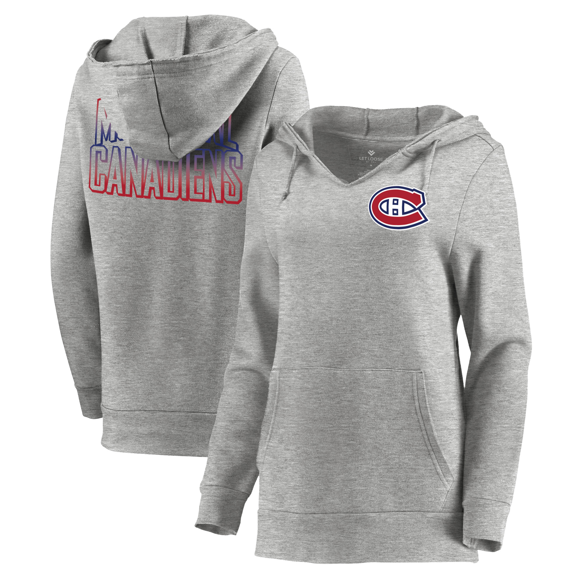Montreal Canadiens Let Loose by RNL Women's Team Logo Fleece Tri-Blend Pullover Hoodie - Ash