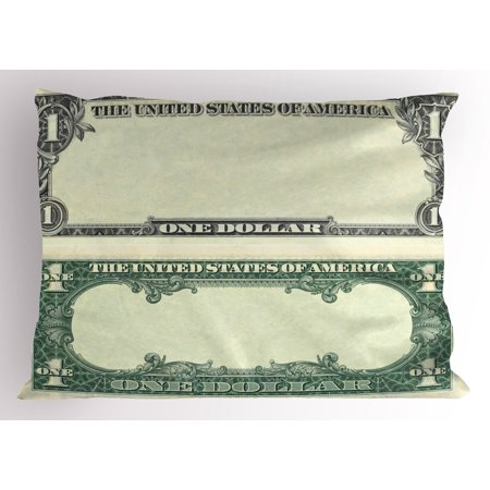 1934 Federal Reserve Note - Money Pillow Sham One Dollar Bill Buck Design American Federal Reserve Note Pattern Wealth Symbol, Decorative Standard Queen Size Printed Pillowcase, 30 X 20 Inches, Pale Green Grey, by Ambesonne