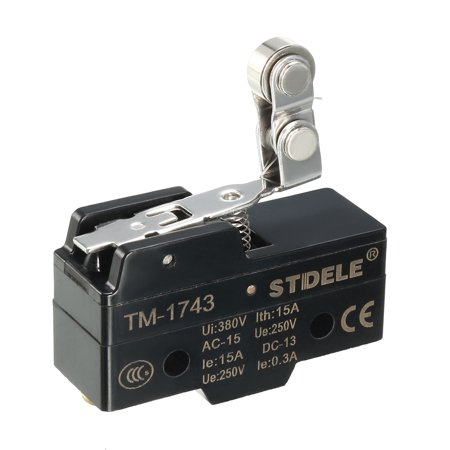 TM-1743 SPDT 1NO+1NC Panel Mount Roller Snap Button Micro Limit Switch 12 Hand Rolled Buttons