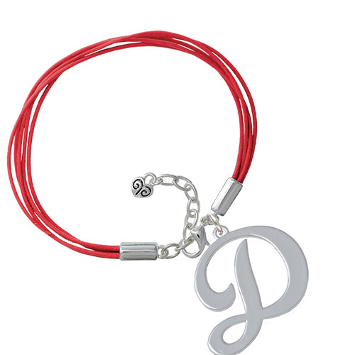 Large Gelato Script Initial - D - Red Leather Aruba Bracelet