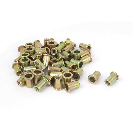 Uxcell M6x15mm Knurled Body Flat Head Blind Rivnuts Insert Rivet Nuts Nutserts (50-pack)