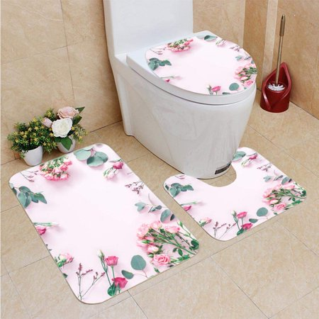 XDDJA Flowers Eucalyptus Branches Flat Lay 3 Piece Bathroom Rugs Set Bath Rug Contour Mat and Toilet Lid Cover - image 1 of 2