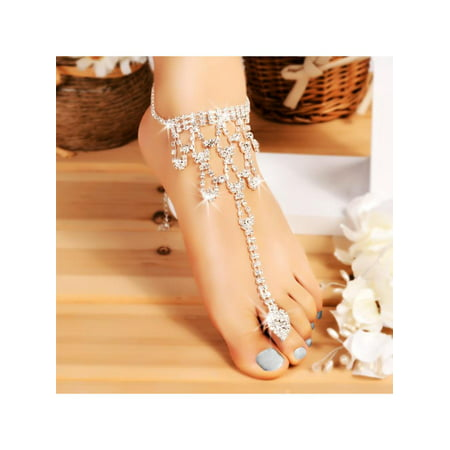 Hot Fashion Women Crystal Barefoot Sandals Beach Wedding Foot
