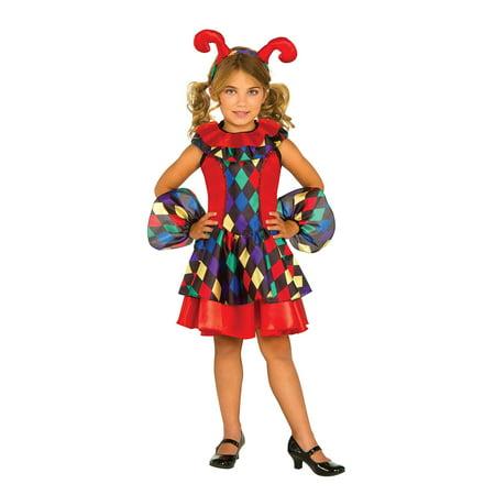 Girls Multi Colored Jester Joker Dress Medieval Child Size Halloween Costume