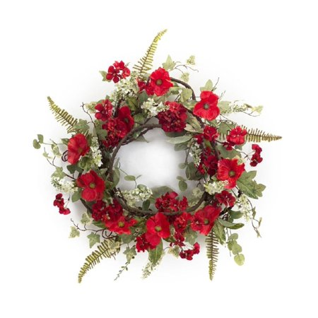 Valentines Red Poppy and Geranium Flowers Artificial Wreath - 24