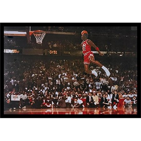 FRAMED Michael Jordan - Foul Line Dunk 36x24 Sports Art Print Poster ...