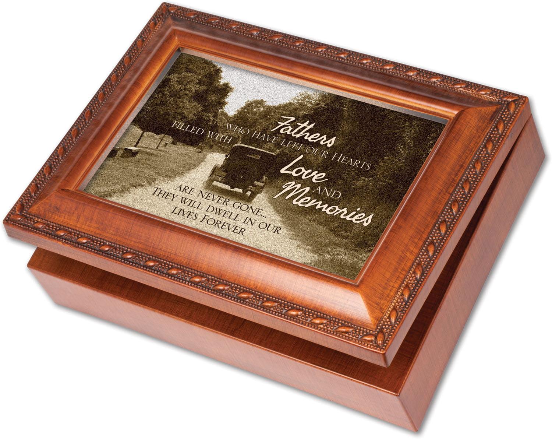 Father Bereavement Rich Woodgrain Finish Jewelry Music Box Plays Amazing Grace by