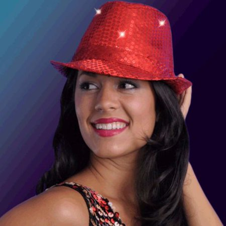 LED Flashing Fedora Hat with Red Sequins - Sequin Fedora