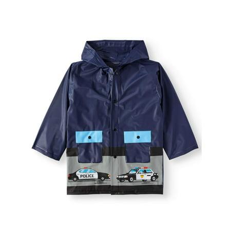 Hooded Policeman Print Water Resistant Rain Jacket (Little Boys)](Kids Boys Leather Jacket)