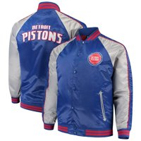 Detroit Pistons Majestic Big & Tall Lightweight Satin Full-Snap Jacket - Blue